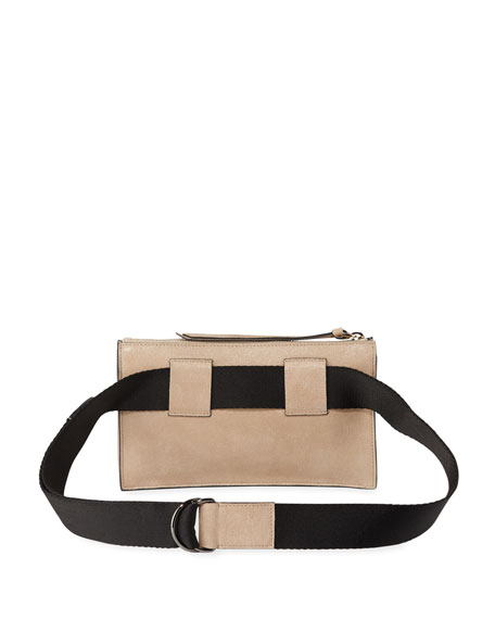 Brunello Cucinelli Buffed Leather Belt Bag with Aviator Pockets