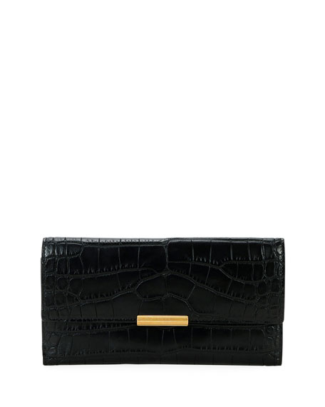 Bottega Veneta Soft Alligator Flap Continental Wallet