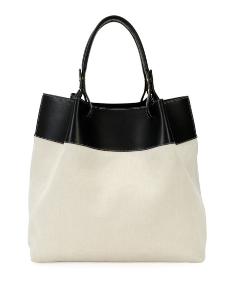 Bottega Veneta Large Leather-Trim Linen Tote Bag