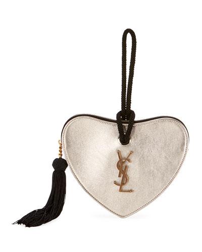 Sac Coeur Heart Calf Clutch Bag