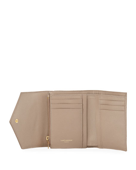 Saint Laurent Small YSL Monogram V-Flap Quilted Wallet