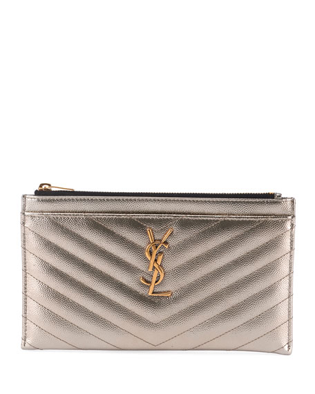 Saint Laurent Monogram YSL Metallic Quilted Bill Pouch Wallet