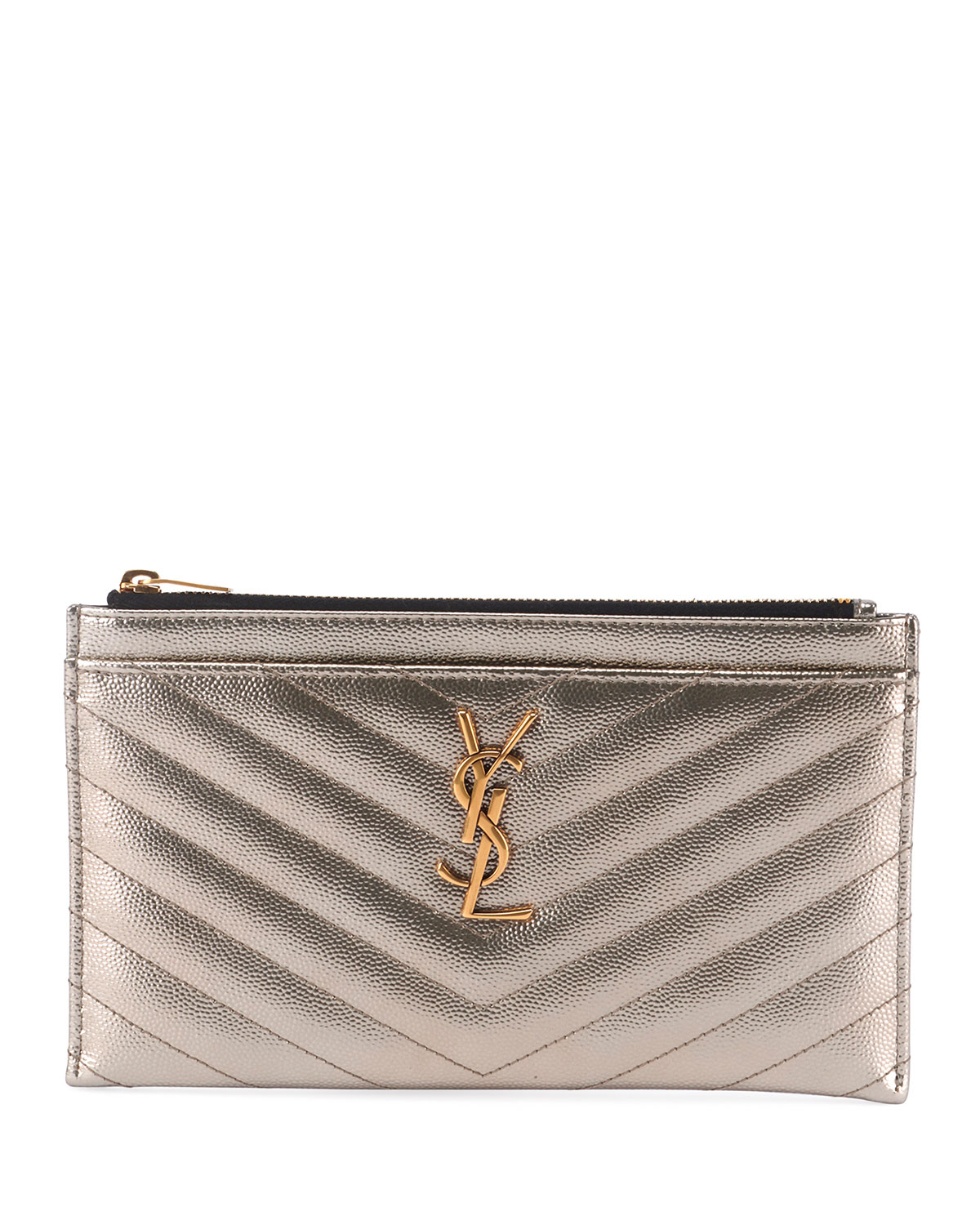 1434ef82e0 Monogram YSL Metallic Quilted Bill Pouch Wallet