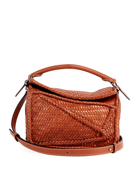 Loewe Puzzle Small Woven Leather  Satchel Bag