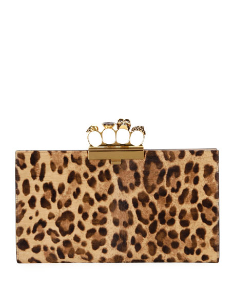 Alexander McQueen Four-Ring Cheetah Clutch Bag