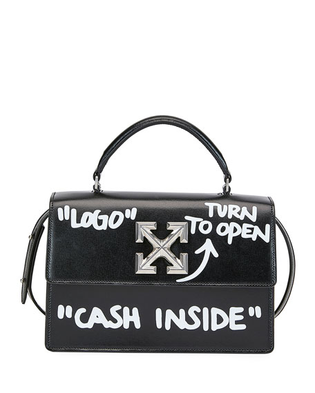 Off White Jitney Cash Inside Top Handle Bag Black White