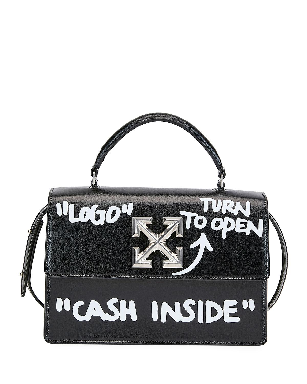 5a9e639e681e0 Off-White Jitney Cash Inside Top Handle Bag, Black/White | Neiman Marcus