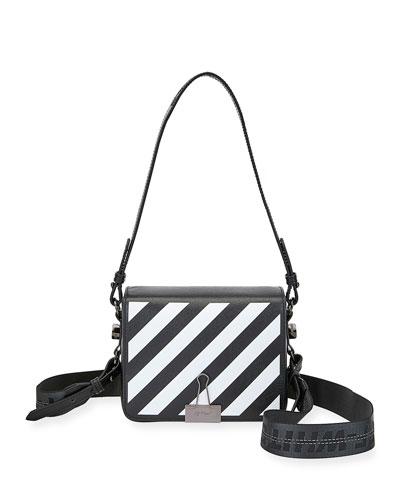 Diagonal Striped Flap Shoulder Bag