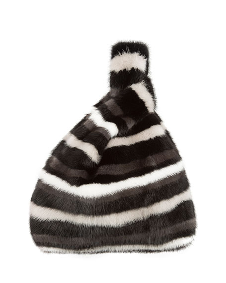Simonetta Ravizza Furrissima Mink Fur Block Striped Tote Bag