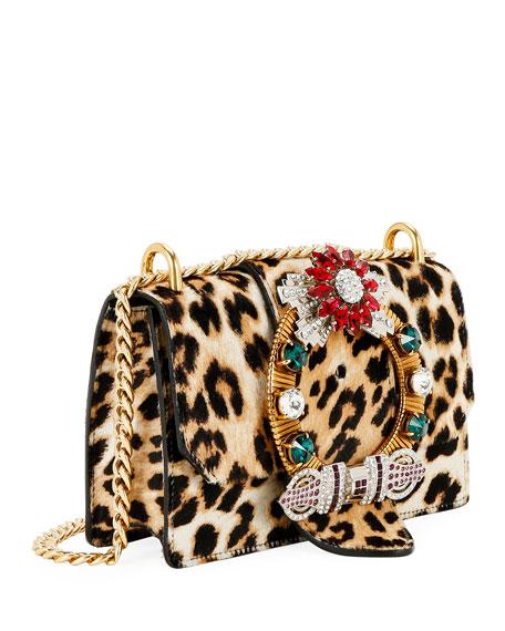 Miu Miu Cavallino Leopard Crystal Shoulder Bag