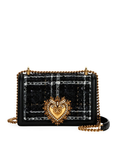 Dolce & Gabbana Devotion Medium Borsa Tweed Crossbody Bag