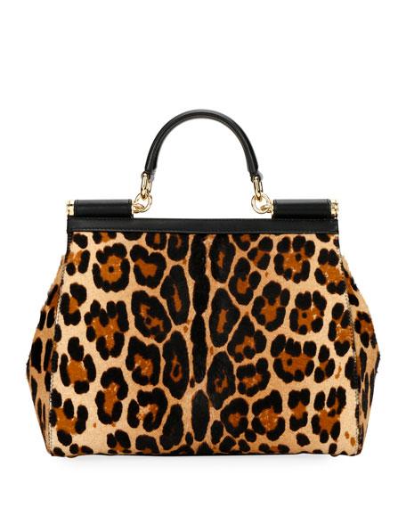 Dolce & Gabbana Sicily Large Leopard Top-Handle Bag