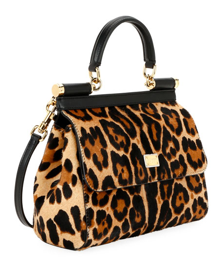 Image 2 of 3: Dolce & Gabbana Devotion Borsa Leopard Top-Handle Bag
