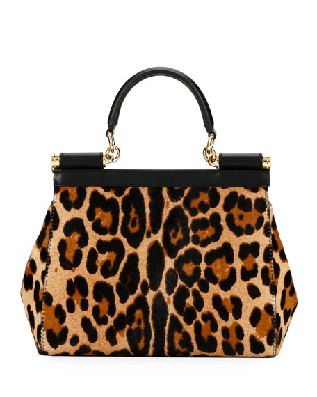 Image 3 of 3: Dolce & Gabbana Devotion Borsa Leopard Top-Handle Bag