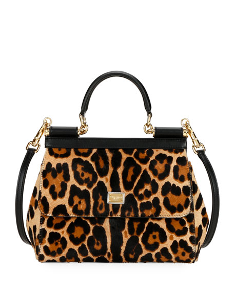 Image 1 of 3: Dolce & Gabbana Devotion Borsa Leopard Top-Handle Bag