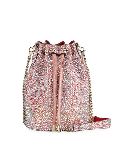 Marie Jane Crystal-Studded Suede Bucket Bag
