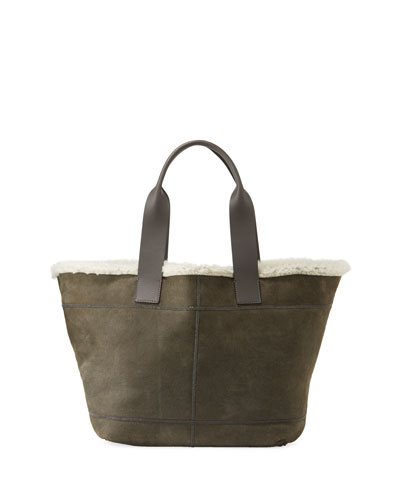 Brushed Tote Bag with Fur Lining