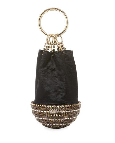 Ghizlan Velvet and Brass Clutch Bag