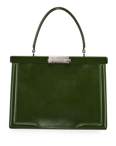 Cecile Medium Framed Leather Top-Handle Bag