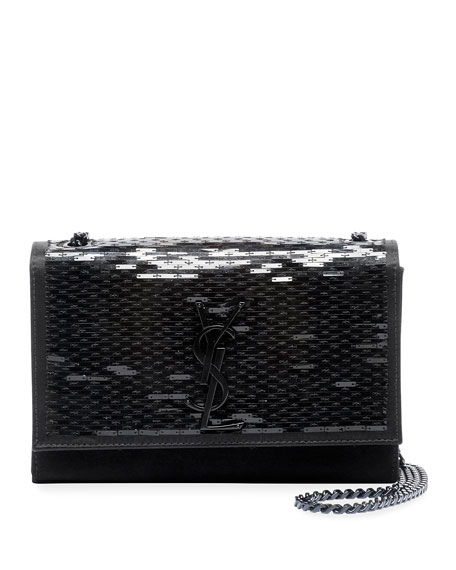 Image 1 of 3: Kate Small Monogram YSL Sequined Crossbody Bag