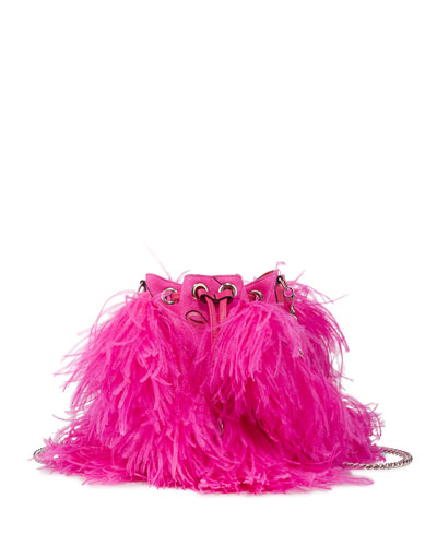 Marie Jane Suede Bucket Bag with Ostrich Feather Fringe