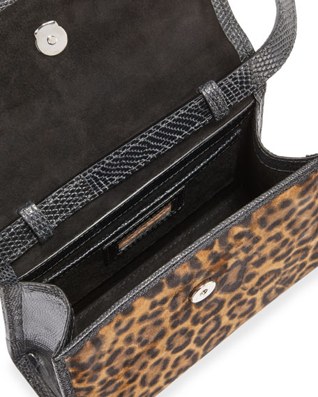 Image 3 of 4: Hunting Season Small Leopard-Print Suede Top-Handle Bag