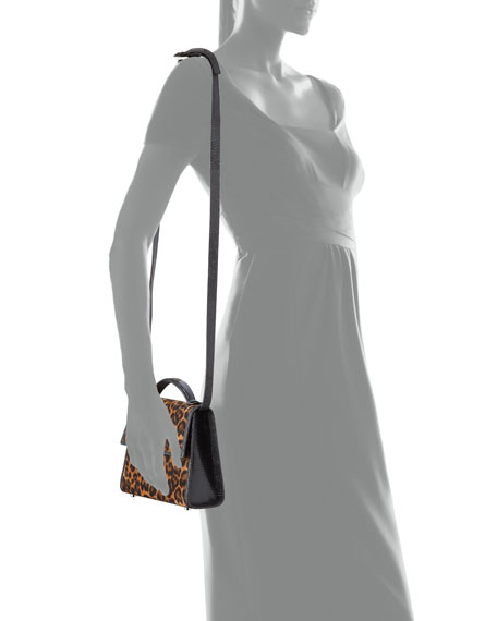 Image 4 of 4: Hunting Season Small Leopard-Print Suede Top-Handle Bag
