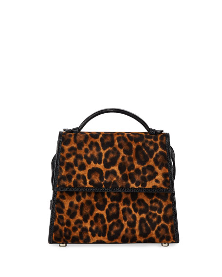 Image 1 of 4: Hunting Season Small Leopard-Print Suede Top-Handle Bag