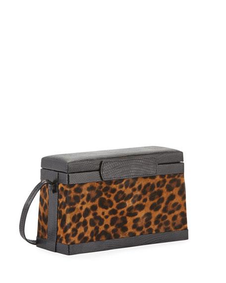Hunting Season Leopard-Print Suede Box Clutch Bag