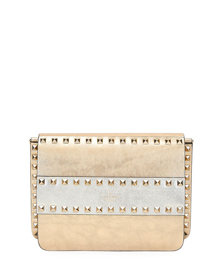 Valentino Garavani Rockstud Two-Tone Metallic Crackle Leather Shoulder Bag