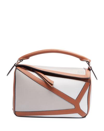 Puzzle Two-Tone Leather Satchel Bag
