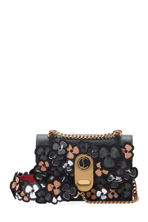 Christian Louboutin Elisa 3D Pansy Mixed Leather Shoulder Bag