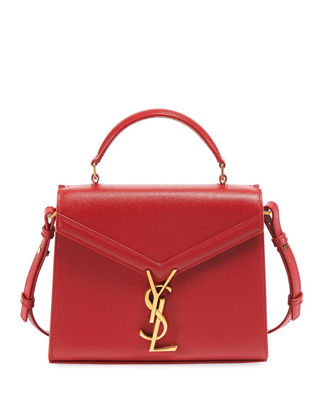 Saint Laurent Cassandre Small YSL Monogram Grain Leather Top-Handle Bag - Golden Hardware