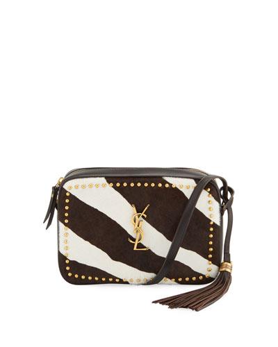 Lou Medium YSL Monogram Studded Zebra Camera Bag