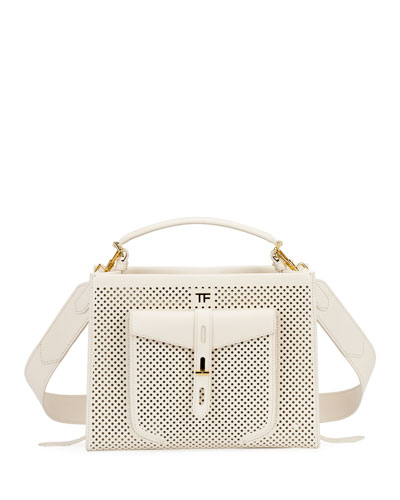 T Twist Perforated Top Handle Bag