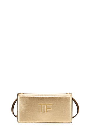 TOM FORD Palmellato Mini Metallic Leather Clutch Bag