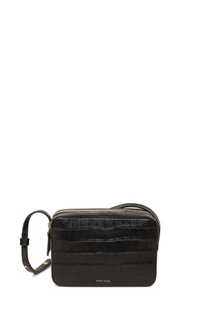 Mansur Gavriel Double-Zip Croc-Embossed Leather Crossbody Bag