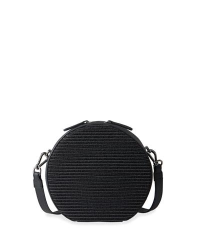 Round Raffia & Monili Crossbody Bag