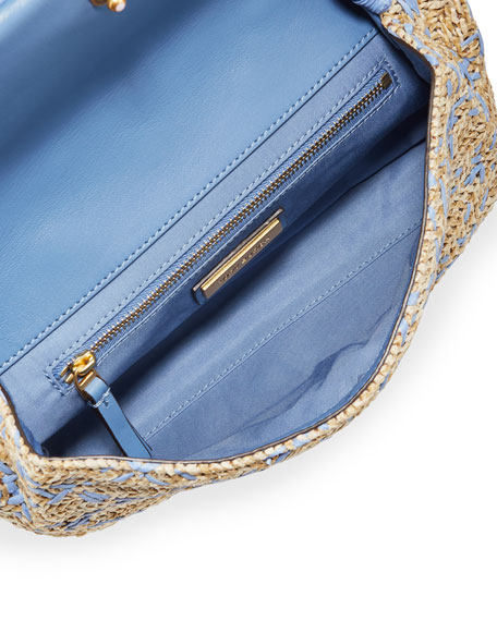 Image 2 of 4: Tory Burch Fleming Soft Straw Clutch Bag