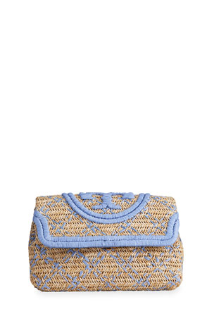 Tory Burch Fleming Soft Straw Clutch Bag