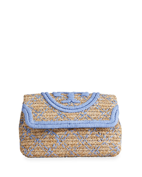 Image 1 of 4: Tory Burch Fleming Soft Straw Clutch Bag