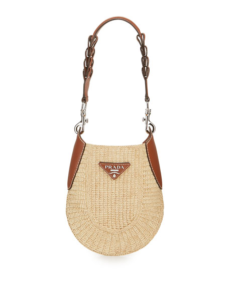 Image 1 of 5: Small Raffia Hobo Bag