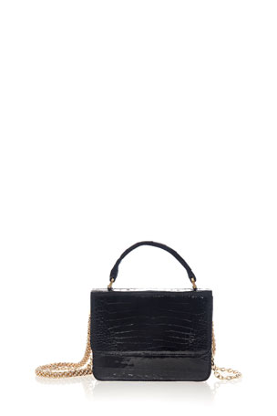 Judith Leiber Couture Caiman Crocodile Top-Handle Bag with Crossbody Strap