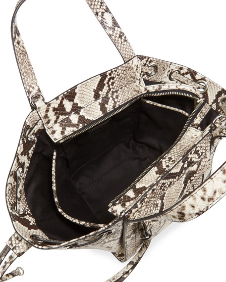 Image 2 of 4: Rebecca Minkoff M.A.B Python-Print Tote Crossbody Bag