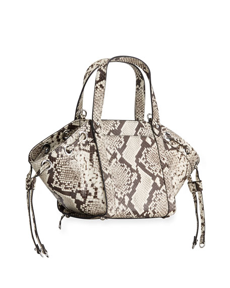 Image 3 of 4: Rebecca Minkoff M.A.B Python-Print Tote Crossbody Bag