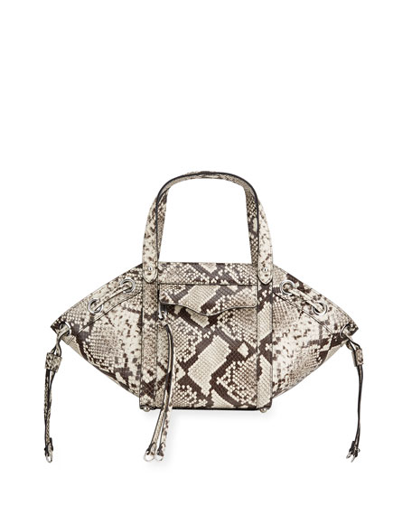 Image 1 of 4: Rebecca Minkoff M.A.B Python-Print Tote Crossbody Bag