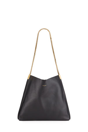 Saint Laurent Medium Napa Chain Shoulder Hobo Bag