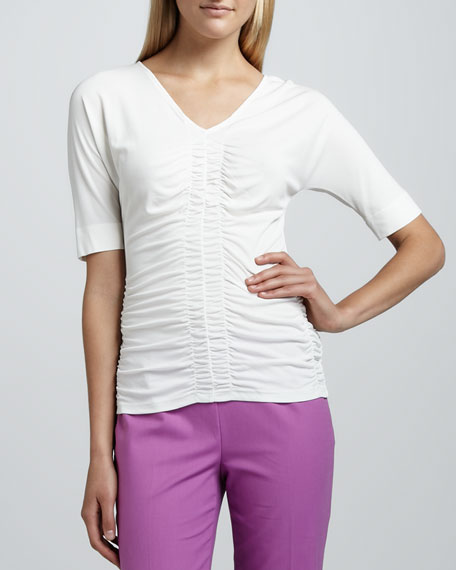 Ruched Silk Dolman Top, Cloud