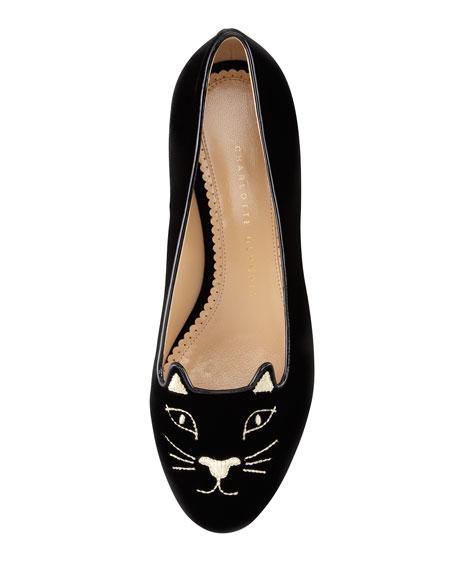 Charlotte Olympia Kitty Cat-Face Velvet Skimmer