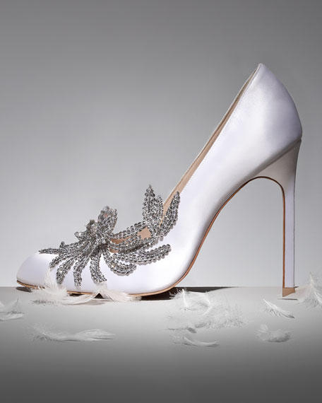 Image 2 of 4: Swan Embellished Satin Pump, White